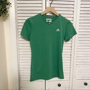 Adidas green short sleeve climalite tee S